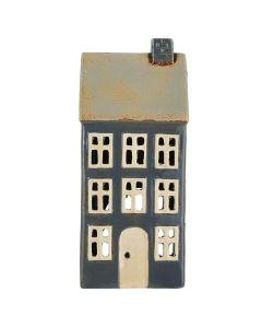 Hus t/fyrfadslys Nyhavn Mørkeblå - 23cm