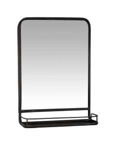 Vægspejl metal m/hylde