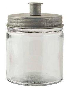 Lysestage t/bedelys glas/metal - Zink