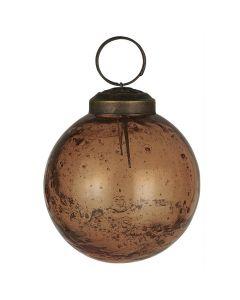 Julekugle pebbled glas chocolate - Ø5,8cm