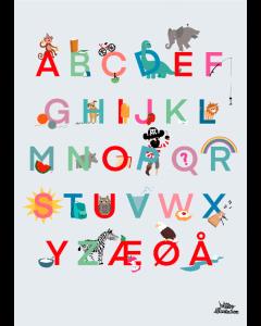 Plakat Alfabet Lyseblå