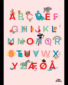Plakat Alfabet Lyserød