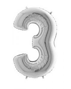 Ballon tal sølv nr.3 - 65cm