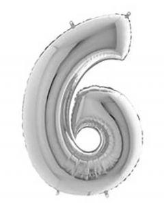 Ballon tal sølv nr.6 - 65cm