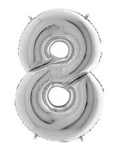 Ballon tal sølv nr.8 - 65cm
