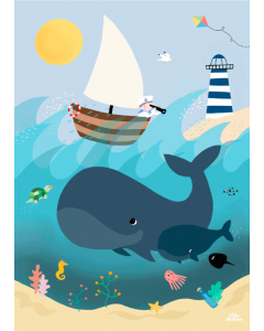 Plakat Whales And Waves