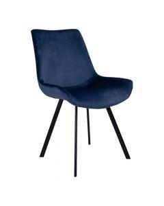 Drammen Spisebordsstol Velour  - Mørkeblå