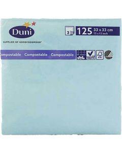 Duni serviet 33x33cm 3-lags 125stk - Mint blå