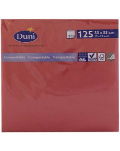 Duni serviet 33x33cm 3-lags 125stk - Rød