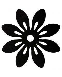 Blomst filt Ø12cm 6stk - Sort