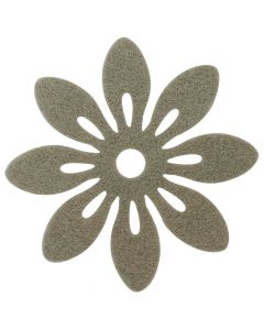 Blomst filt Ø12cm 6stk - Hør
