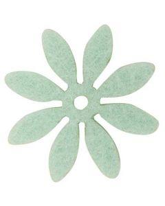 Blomst filt Ø3cm 18stk - Mint