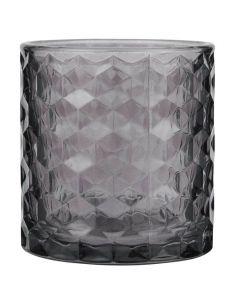 Fyrfadsstage glas Ø7cm - Aubergine