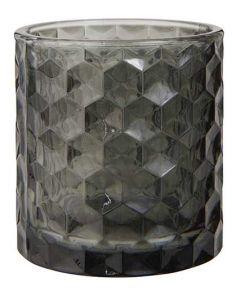 Fyrfadsstage glas Ø7cm - Grå