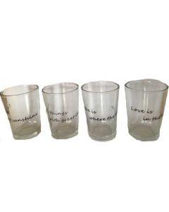 Fyrfadsstage glas med små citater H8,5xØ6cm