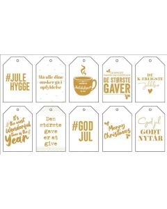 Guld 'Til- og fra-kort' - 10stk