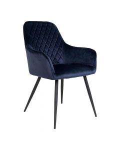 Harbo Spisebordsstol Velour - Mørkeblå