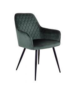 Harbo Spisebordsstol Velour - Mørkegrøn