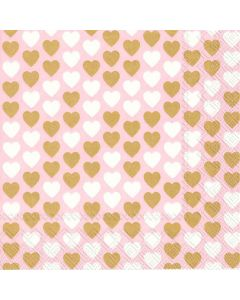 IHR Frokostserviet 33x33cm 3-lags 20stk - Lovely Hearts Rosa