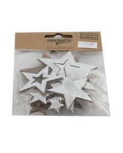 Stjerne filt sølv/natur 15 stk