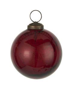 Julekugle pebbled glas rhododendron - 8cm