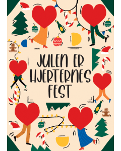 Citatplakat A5 Julekort - Julen Er Hjerternes Fest
