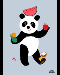 Plakat Panda Lyseblå