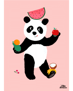 Plakat Panda Lyserød