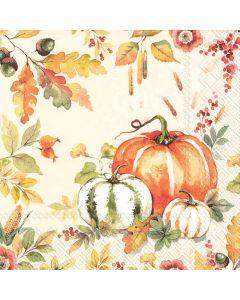 IHR Frokostserviet 33x33cm 3-lags 20stk - Pumpkin Love Creme