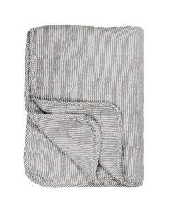 Quilt Tæppe Hvid m/mørkegrå striber