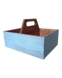 Rustik trækasse genbrugstræ - Lyseblå