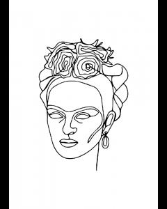 Plakat Face Frida Kahlo - One Line