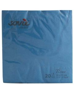 Sovie 33x33 3-lags 20stk serviet - Aquablå