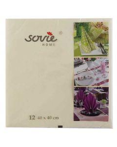 Sovie home tekstil serviet 40x40 cm - 12 stk Creme