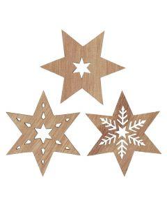 Stjerne træ assorteret 3stk - 5,5cm