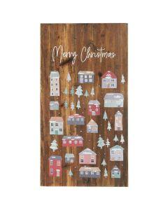 Træskilt julelandsby og Merry Christmas - 34x65cm